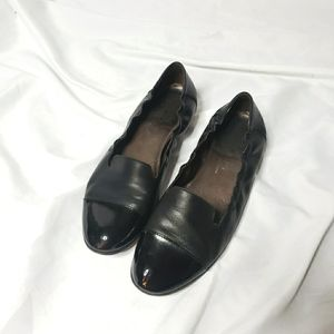 AGL Black leather slip on flats loafers size 39.5